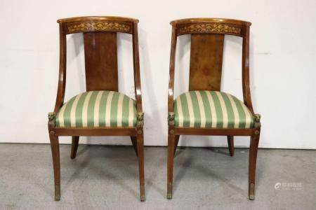 Pair antique French chairs with bronze ormolu