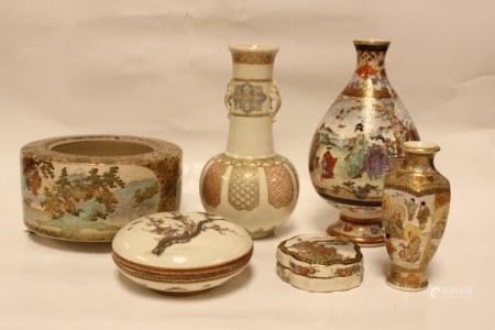 Group of  6 Japanese Satsuma Porcelain