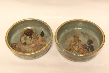 Pair of Satsuma Bowl w Figural
