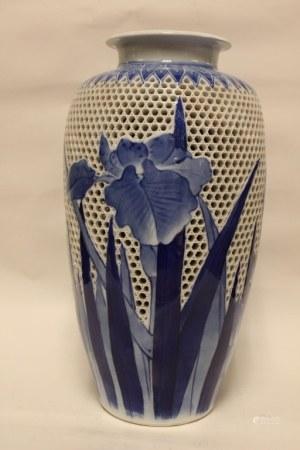 Japanese Art Nouveau Double Blue and White Vase