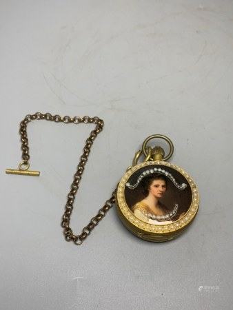 A Bronze Pocket Watch w Mother Pearl