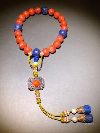Qing Chinese 18 Nanhong Beads Prayer Bracelet