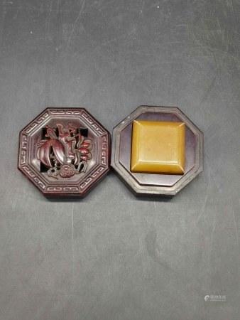 Chinese Soapstone Seal w Original Box