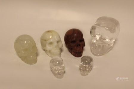 Group of 6 Carved Skulls