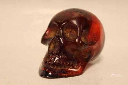 Amber Carved Skull