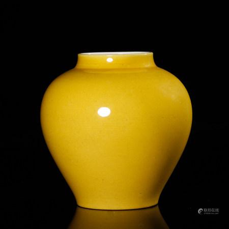 A Chinese Yellow Glazed Porcelain Jar