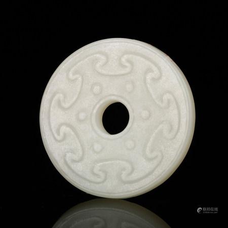 A Chinese White Jade Bi Disk Pendant