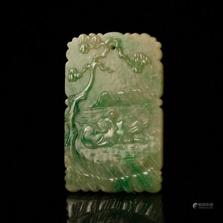 A Chinese Jadeite Plaque Pendant