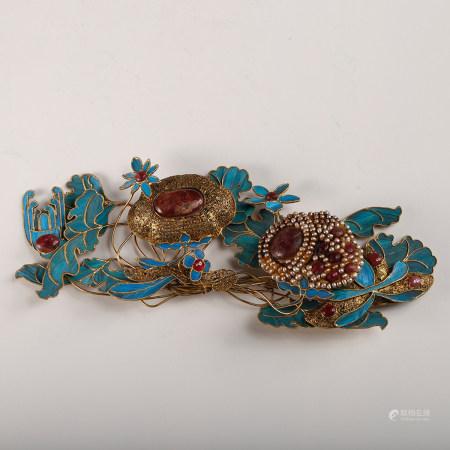A Chinese Gilt Bronze Dian Cui Hair Ornament