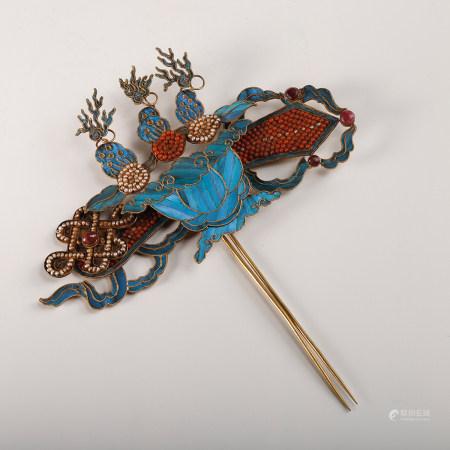 A Chinese Gilt Bronze Dian Cui Hair Pin