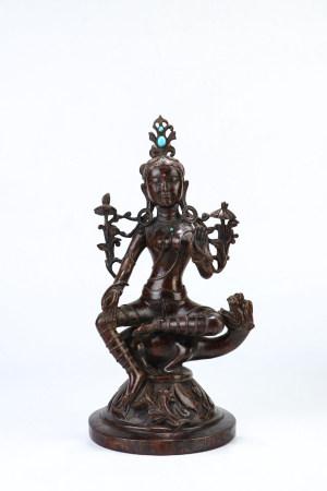 A Chinese Hardwood Carved Seated Tara