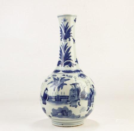 A Chinese Blue White Figural Porcelain Vase