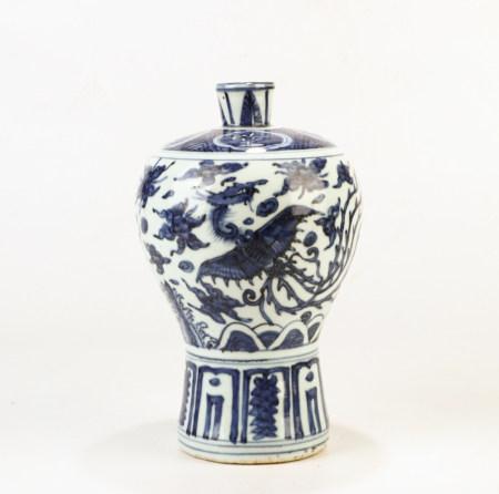 A Chinese Blue White Phoenix Porcelain Vase