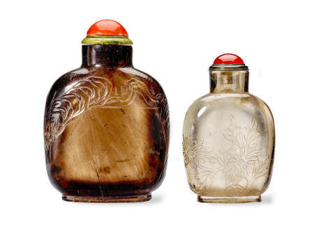 TWO ROCK CRYSTAL SNUFF BOTTLES 1760-1850 (2)