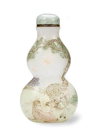 A FINE ENAMELLED GLASS SNUFF BOTTLE Imperial Studios, Guyue Xuan, 1767-1799