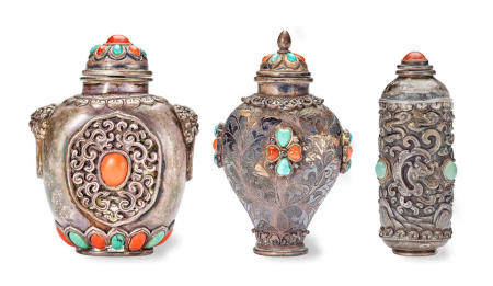 THREE EMBELLISHED MONGOLIAN SILVER SNUFF BOTTLES 1800-1900 (3)
