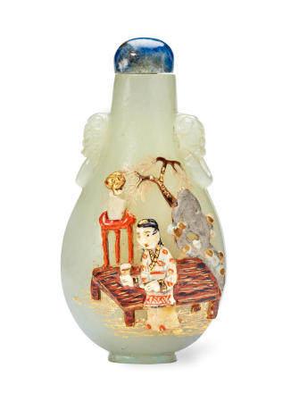 AN EMBELLISHED CELADON JADE SNUFF BOTTLE The bottle: 1780-1850, embellishment: Tsuda family, Kyoto, Japan, 20th century