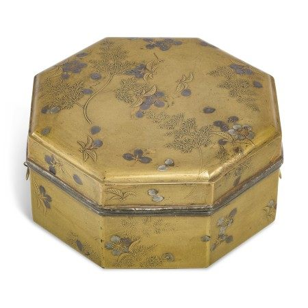 A LACQUER CAKE BOX (KASHIBAKO) WITH SCATTERED CHERRY BLOSSOMS