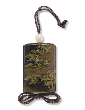 A FOUR-CASE LACQUER INRO WITH A BAMBOO GROVE