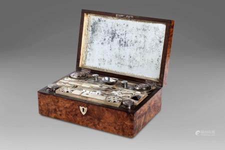 Briar travel beauty-case with silver, mother-of-pearl and cr