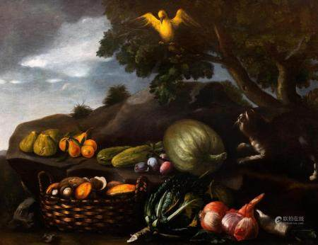 Scuola romana, secolo XVII - Still life with fruit, vegetabl