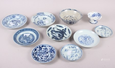 """A Chinese blue and white bowl with landscape, figure and floral decoration, 6 1/2"""" wide, and a"""