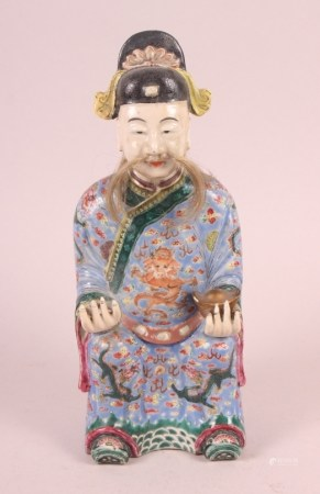 """A Canton enamel figure of the God of Fortune, 10"""" high (restorations)"""