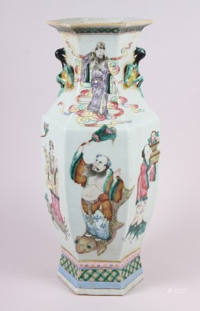 """A Chinese porcelain hexagonal famille rose vase with immortal decoration, 16.5"""" high (chip to base)"""