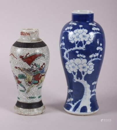 """A Chinese oviform vase with prunus decoration, 10 1/2"""" high, and a crackle ware vase with warrior"""