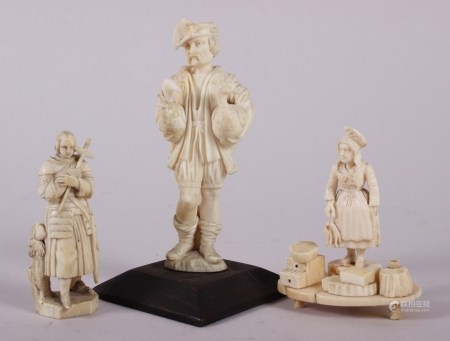 """A 19th century Dieppe ivory carving of a gentleman with two geese, on plinth base, 4 3/4"""" high, a"""