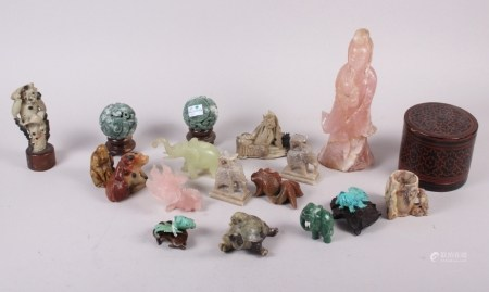"""A rose quartz figure of Kuan Yin, 8 1/2"""" high, a soapstone turtle, a pair of turquoise goldfish"""