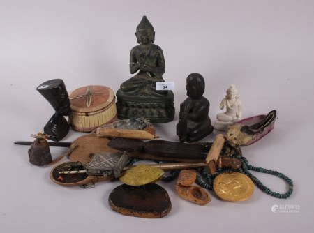 """A bronzed Buddha, 8"""" high, two Oriental balances, a soap stone Indian deity and a collection of"""