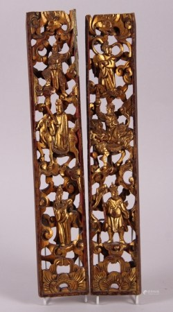 """Two Chinese carved gilt hardwood panels, immortals, 19"""" x 3 1/4"""""""
