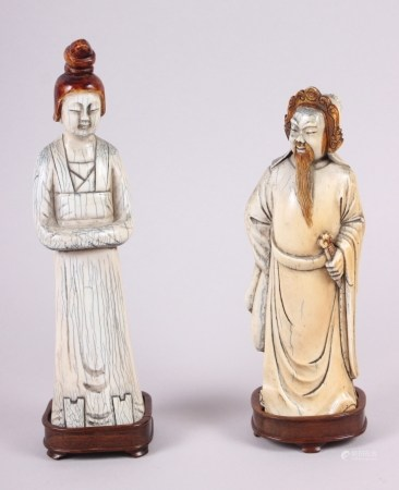"""A carved and stained """"mammoth"""" ivory figure of Kuan Yin, on hardwood base, 10"""" high, and a similar"""