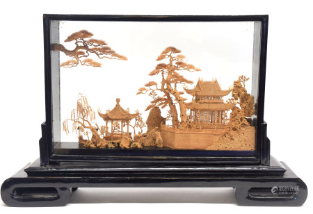 Oriental paper diorama in black wooden frame
