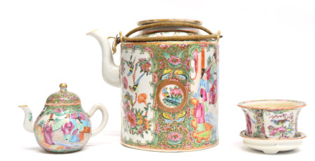 Late 19th century Cantonese porcelain kettle decorated in famille rose, together with a miniature