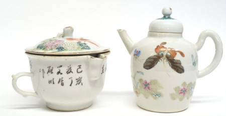 Chinese porcelain jar and cover decorated in enamels with a bird on a branch