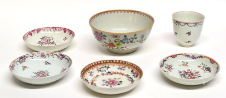 Collection of 18th century Chinese porcelain ceramics all with enamel decoration primarily in