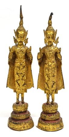 Two gilt metal figures of Hindu deities, 19cm high (2)