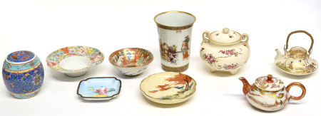 Group of Japanese ceramics comprising a tall beaker with enamel and gilt decoration, miniature tea