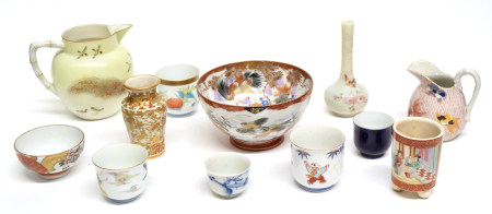 Quantity of Japanese and European ceramics including a small vase, tea bowls, jugs, two small