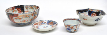 Quantity of Chinese/Japanese ceramics including a teabowl and saucers, small octagonal dish and