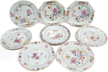 Eight 18th century Chinese porcelain plates all decorated in polychrome enamels, two octagonal