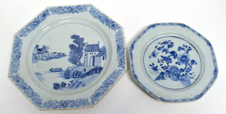 Chinese 18th century porcelain octagonal plate, with landscape scene and further octagonal with