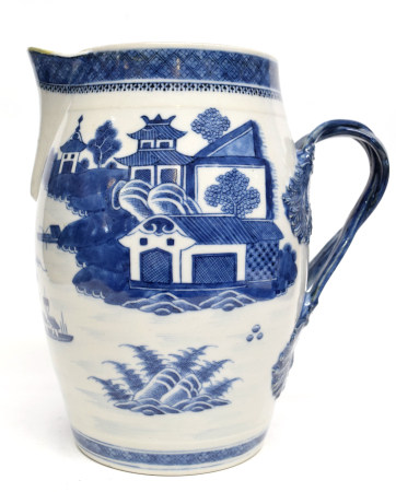 18th century large Chinese jug of barrel form and interlaced handles, decorated in underglaze