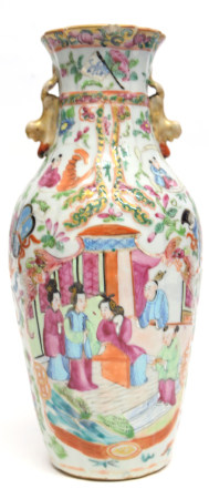 Late 19th century Chinese porcelain vase decorated in typical fashion in famille rose style, 27cm