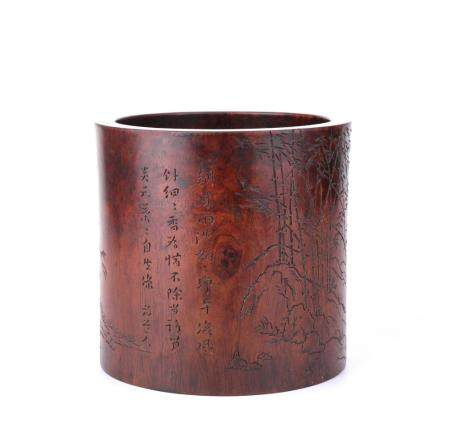 A HUANGHUALI 'BAMBOO AND POEM' BRUSH POT