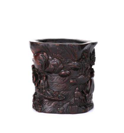 A CHENXIANG WOOD 'LANDSCAPE AND FIGURES' BRUSH POT