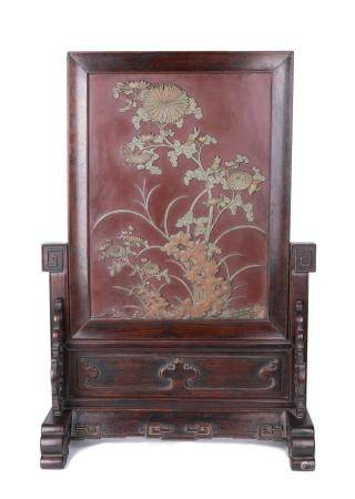 A CARVED STONE 'FLOWERS' TABLE SCREEN