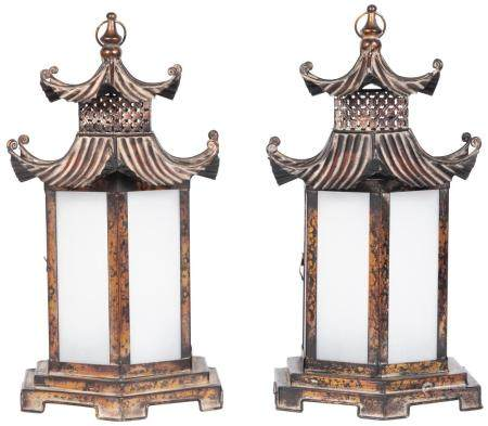 Pair of Chinese Style Patinated Metal and Glass Lanterns